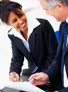 International Accountants for Practitioners - Business Woman and Man talking